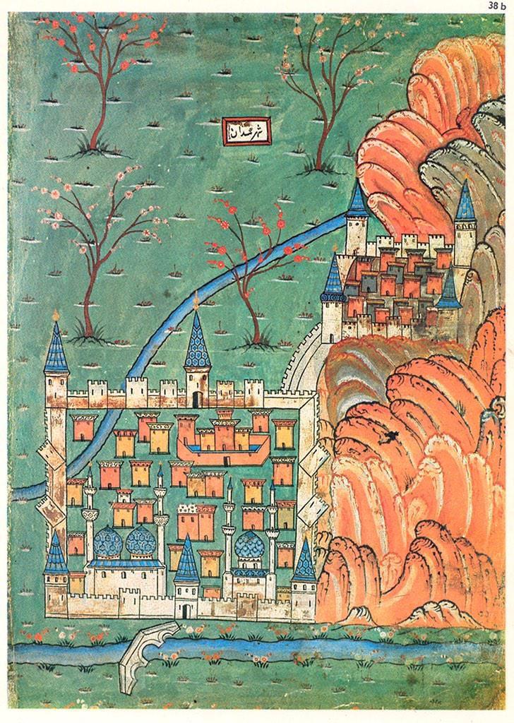 C16th map of Hamadān, #Iran by the great Ottoman cartographer Matrakçı Nasuh
