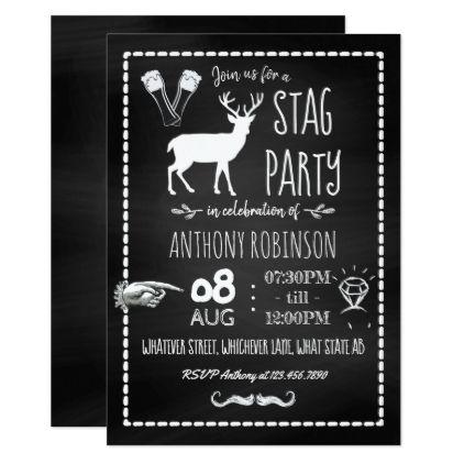 Bachelor Stag Party Celebration Chalkboard Invite - invitations custom unique diy personalize occasions