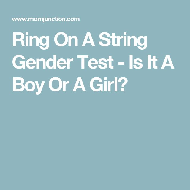 Needle test for boy or girl