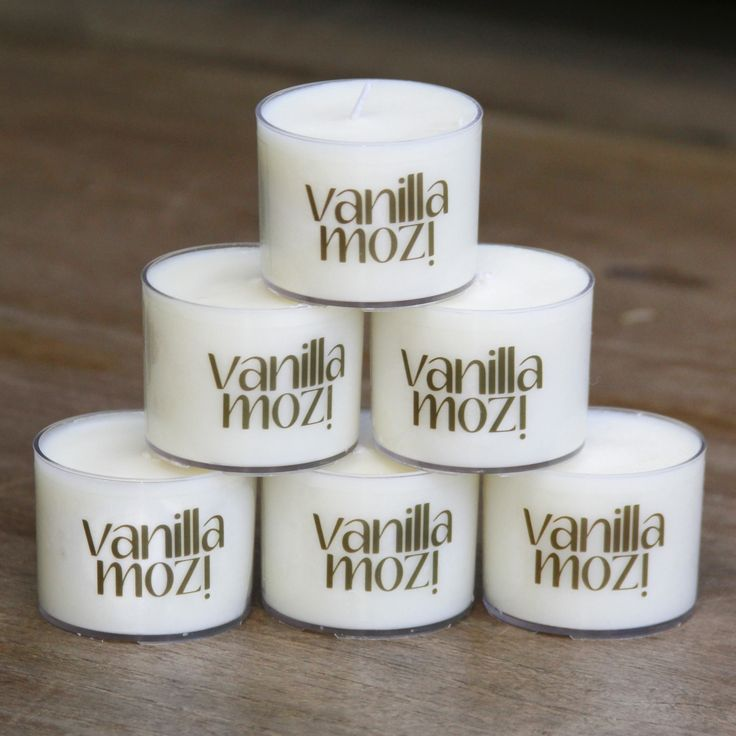 6 Pack Vanilla Mozi Spa Cup Candles. Ideal to spread around in summer.