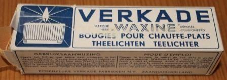 Oude verpakking van Verkade waxinelichtjes.De koekfabrikant heeft dit enige tijd vervaardigd.