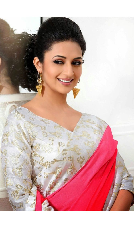 Pink Color Trendy Style Border  Divyanka Tripathi Sarees