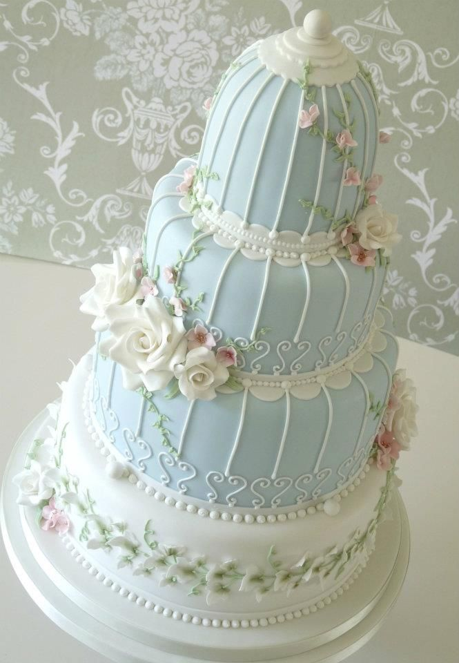 In love with this!! Blue version of the Birdcage Cake by Rachelle's Cakes