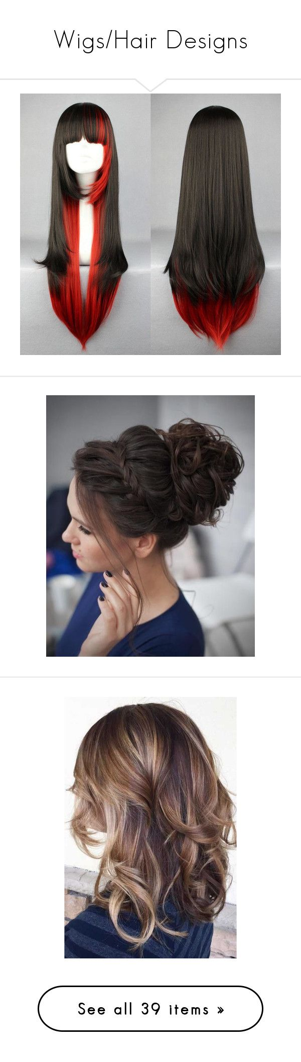 """""""Wigs/Hair Designs"""" by barryallen269 on Polyvore featuring beauty products, haircare, hair styling tools, hair, hairstyles, beauty, fine curly hair care, fine hair care, curly hair care and cabelos"""