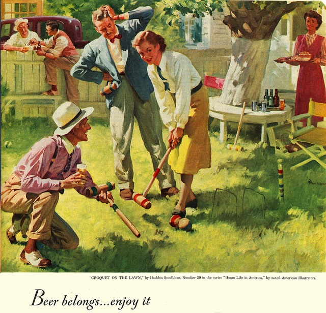 Good Illustration By Haddon Sundblom From A 1948 Ad Promoting American Beer.