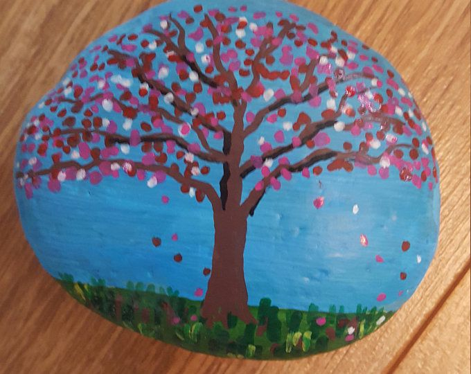 Reserved For Patti Japanese Cherry Blossom Tree Painted Rock Etsy Cherry Blossom Tree Tree Painting Blossom Trees
