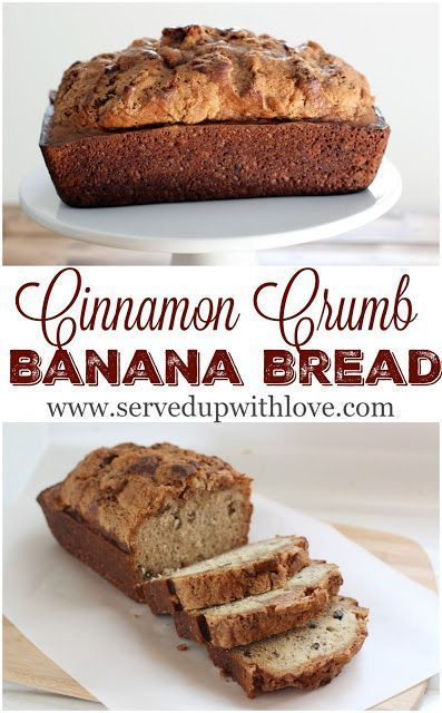 Cinnamon Crumb Banana Bread recipe from Served Up With Love. Overripe, sweet bananas get transformed into a delicious cinnamon crumb topped bread that is perfect with that morning cup of coffee. www.servedupwithlove,com