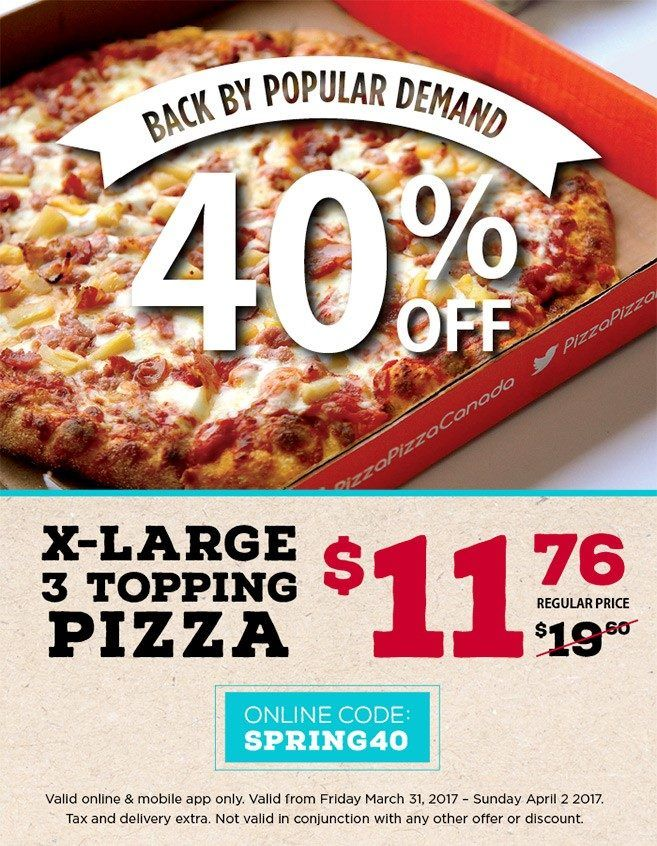 [Pizza Pizza]Back Again Pizza Pizza XL 3-Topping 40% Off http://www.lavahotdeals.com/ca/cheap/pizza-pizzaback-pizza-pizza-xl-3-topping-40/184267?utm_source=pinterest&utm_medium=rss&utm_campaign=at_lavahotdeals
