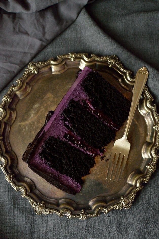 Chocolate and blackberry cake - three layers of moist chocolate cake with blackberry jam, backberry swiss meringue buttercream and blackberry ganache
