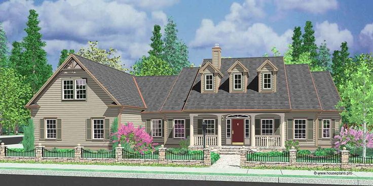 House Front Color Elevation View For 10088 Colonial House Plans Dormers Bonus Room Over Garage