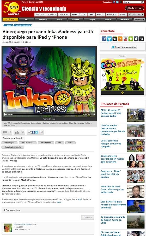 Nota aparecida en el portal de tecnología de RPP Noticias. #peru #games #inkamadness #incas #rpp