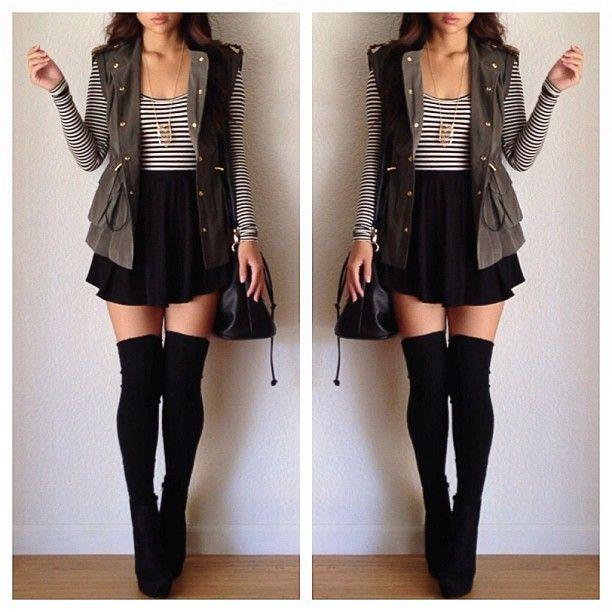 bbea26718 high-waisted black skirt + over-the-knee stockings + long vest ...