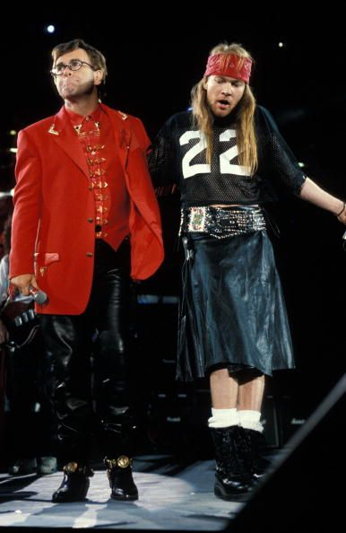 Elton John Axl Rose performing live onstage at Freddie Mercury Tribute Concert.  20 April 1992 at London's Wembley Stadium