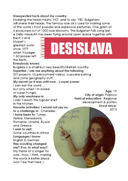 Scouting a path info booklet Page 3. about the volunteers: Desi, Bulgaria. November 2014.