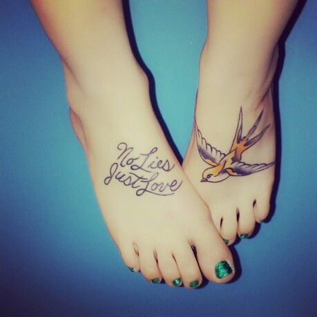 My bright eyes tattoos. No Lies, Just Love and my yellow bird.