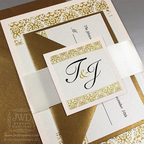Blush Wedding Invitation Elegant Gold Invitation Suite with Ribbon Belly Band - SAMPLE KIT - Jazzy Damask