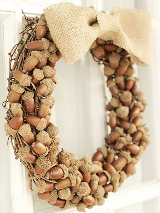 Make a sweet and all-fall statement with this natural harvest wreath: http://www.bhg.com/thanksgiving/outdoor-decorations/holiday-wreaths/?socsrc=bhgpin110814acornfallwreath&page=5