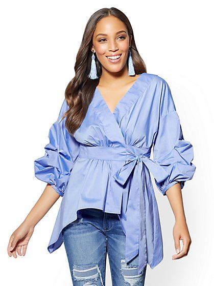 6b7e6125272 Ruffled-Sleeve V-Neck Shirt - Wrap Front - Blue - New York   Company ...