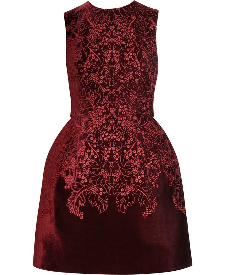 McQ Alexander McQueen | The broderie anglaise velvet bell dress|NET-A-PORTER.COM