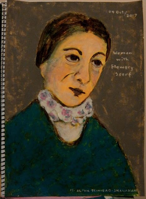 it is all in the book!: Woman with flowery scarf.
