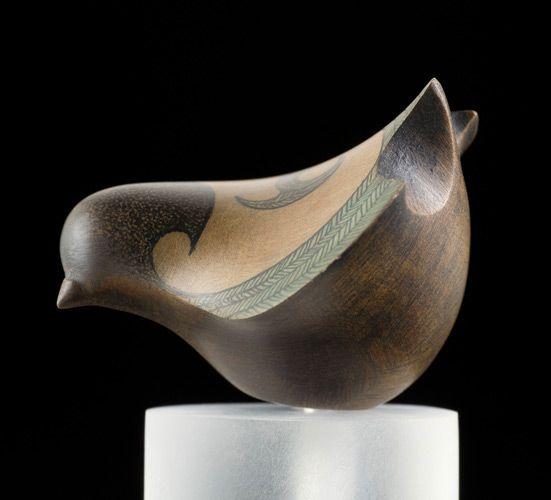 Chatham Islands Black Robin by Rex Homan, Māori artist (KR80302)