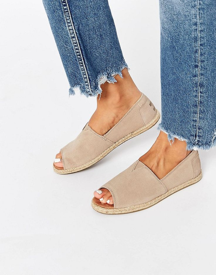 78e41c22237 TOMS Alpargata Peep Toe Suede Flat Shoes   Vaiva's wishlist   Suede ...