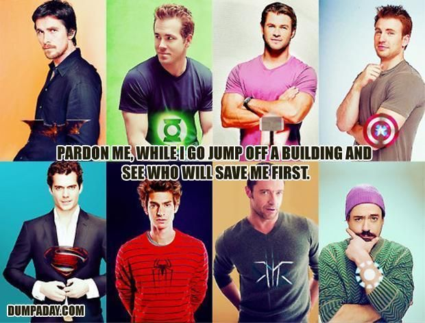 Superheroes: Batman (Christian Bale), Green Lantern (Ryan Reynolds), Thor (Chris Hemsworth), Captain