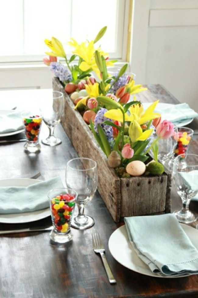 A wooden box centerpiece for spring flowers