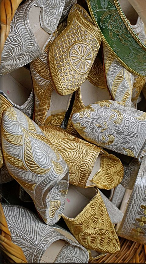 ~Silver and gold Moroccan slippers | House of Beccaria