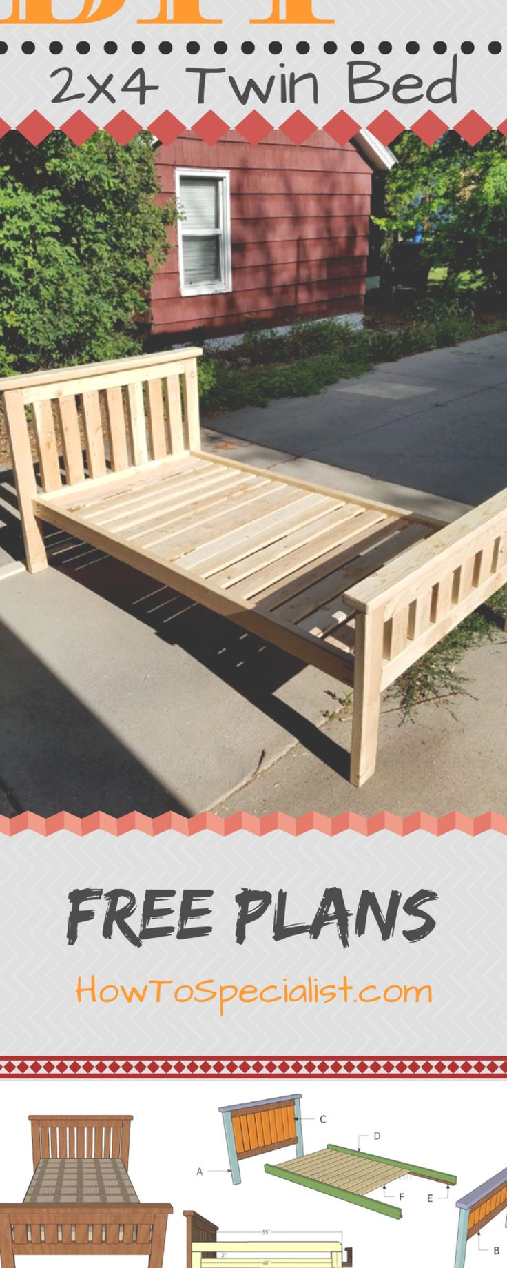 Step by Step guide on how to build a 2x4 twin bed. If you