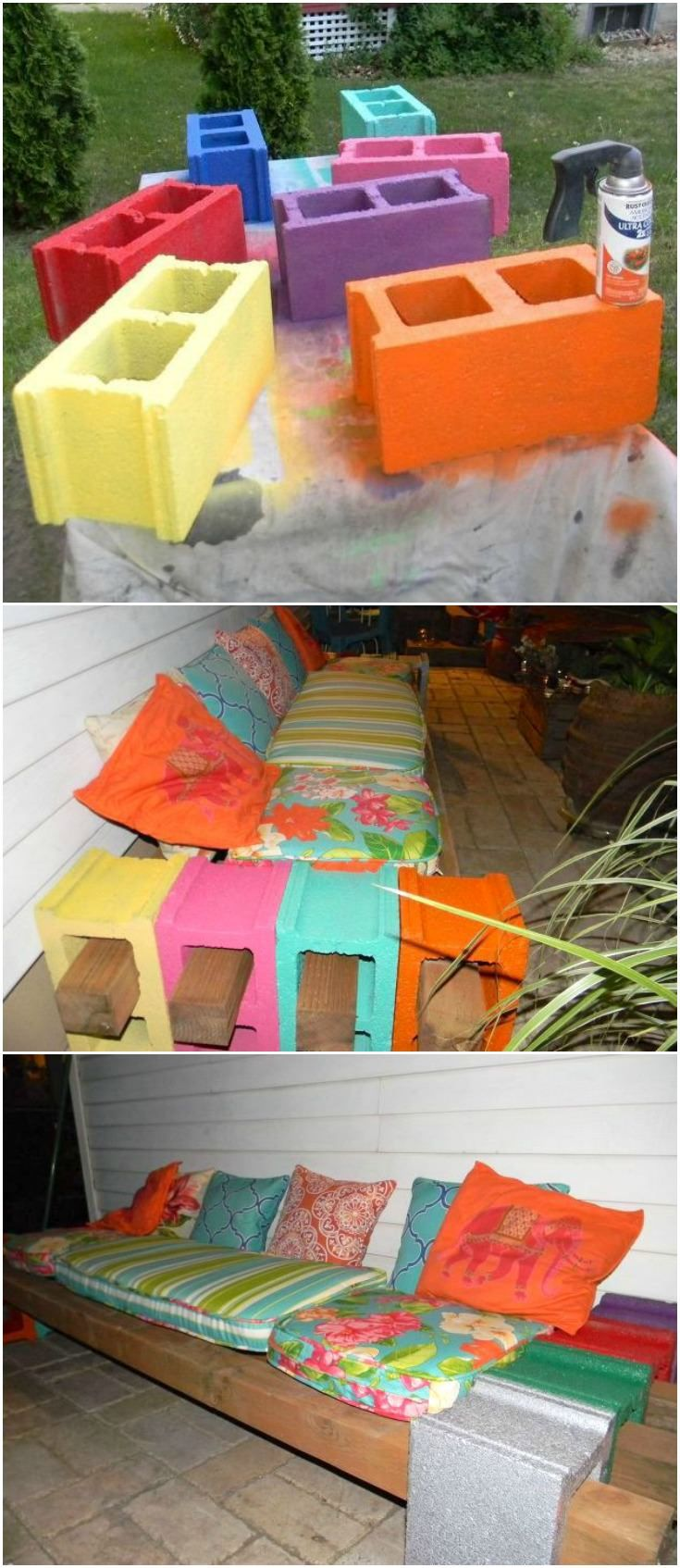 Learn how to make a cinder block bench with beams - Invite your friends over, you've got plenty of room for them to sit and enjoy your new outdoor space full of color & light!