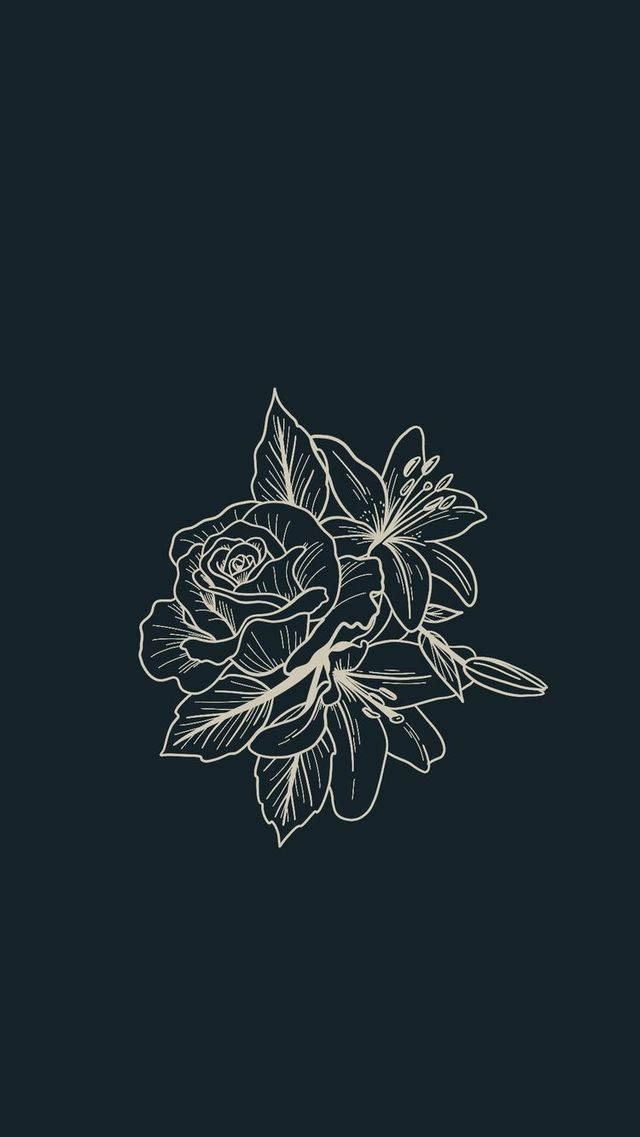 Phone Wallpaper Iphone Android Cute Aesthetic Simple Pretty Dark Flowers Floral Illustrations Trendy Tattoos Aesthetic Iphone Wallpaper