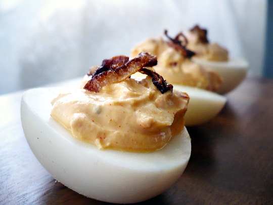 Deviled eggs are a pre-req. These are smoky with greek yogurt. I think I might prefer the classic though.