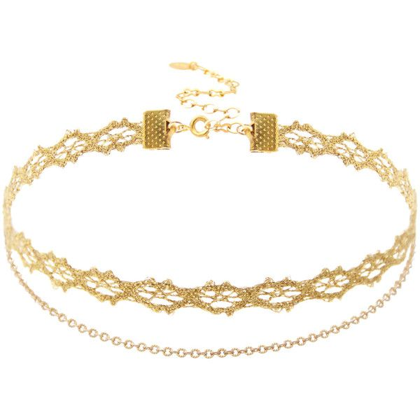 Gold Lace Chain Double Choker ($29) ❤ liked on Polyvore featuring jewelry, necklaces, gold choker, lace necklace, chain choker, yellow gold necklace and gold chain jewelry