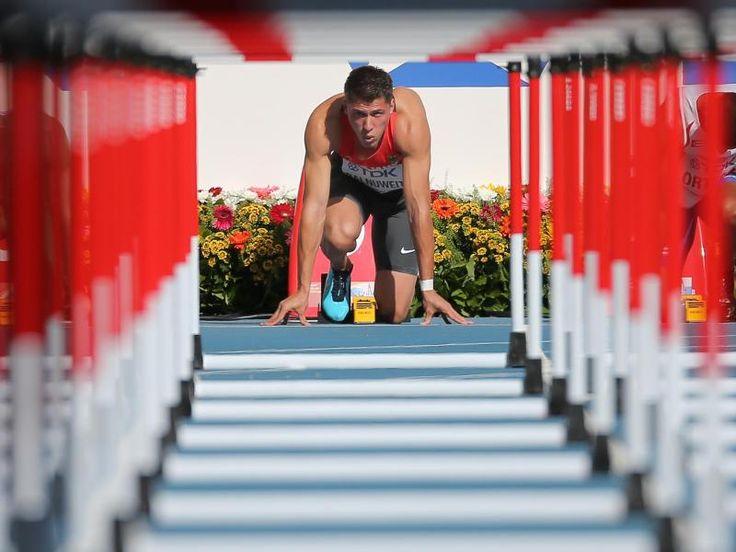 Hürdensprinter Erik Balnuweit und der Tunnelblick vor dem 110-Meter-Hürden-Vorlauf bei der WM in Moskau. Für die nächste Runde reichte es für den Deutschen allerdings nicht. (Foto: Srdjan Suki/dpa)