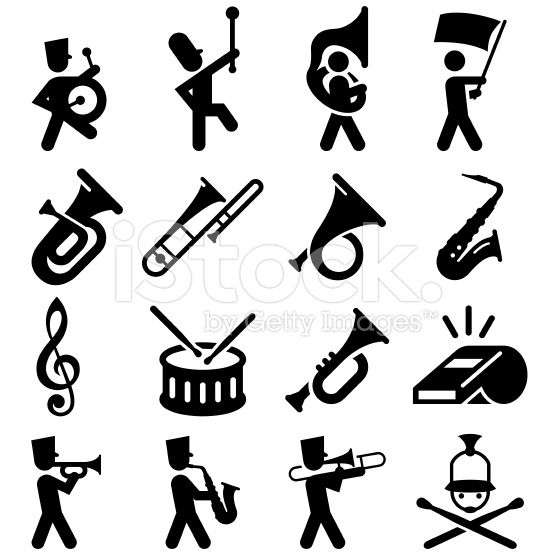 Marching Band Icons - Black Series royalty-free stock vector art