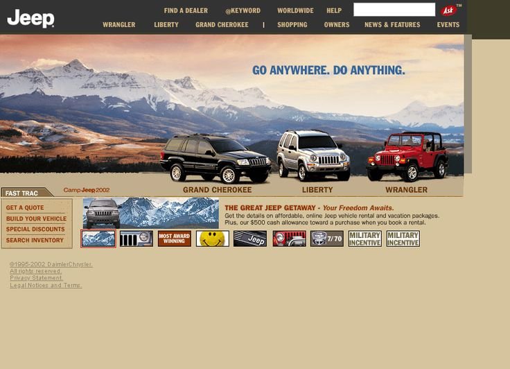 Jeep website in 2002