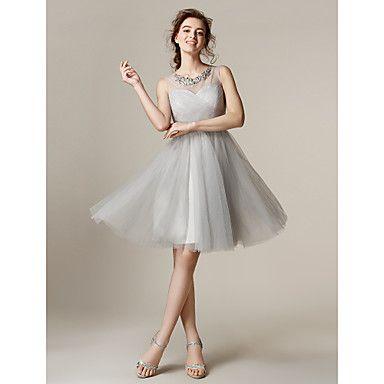Knee-length+Tulle+Bridesmaid+Dress+-+Silver+Plus+Sizes+/+Petite+A-line+/+Princess+Jewel+–+USD+$+79.99