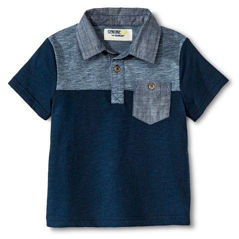 << Toddler Boys Chambray Block Polo - Dressy Blue >>