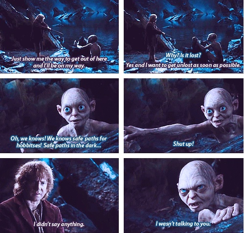 The meeting that will change their lives - Bilbo (Martin Freeman) and Gollum (Andy Serkis) meet in The Hobbit: An Unexpected Journey.
