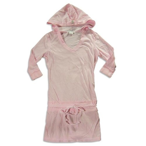 So Nikki - Girls 3/4 Sleeve Hoodie Tunic, Light Pink