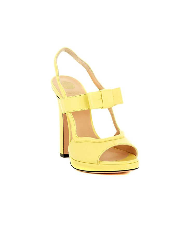 Yellow leather sandals decorated with front bow leather sole and lining Heel: 12 cm  Platform: 0,5 cm