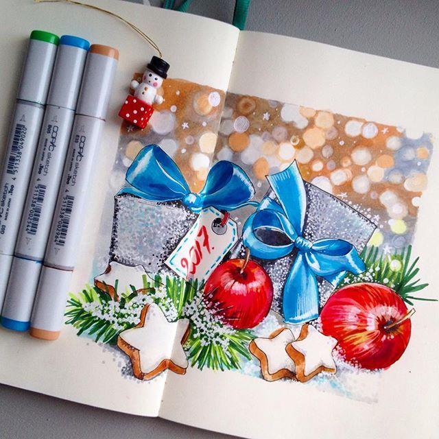 4/8 Новогодние традиции. Самая любимая традиция- это дарить подарки!✨#lk_newyear от @art_markers @miftvorchestvo @tsusketch.  #newyear #happychristmas