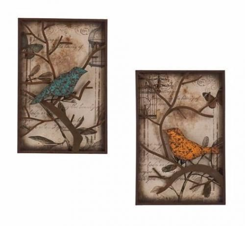 Metal Wall Panel Set Art Decor Love Birds Wedding Gift Rustic Sculpture House #MetalWallPanel