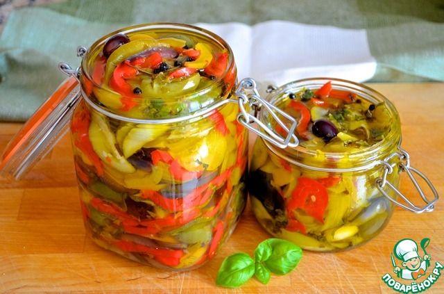 Маринованные летние овощи с лимоном и базиликом - кулинарный рецепт