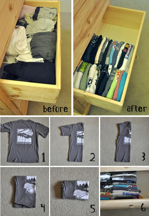 Just did this to Chase's drawers. Fit all his short sleeve & long sleeve t's in the same drawer! Good stuff!