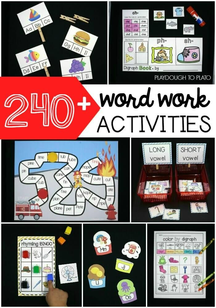 240+ Word Work Activities. Such an easy way to plan literacy centers for the entire year! Pre-reading activities, ABC games, sight word games... tons of awesome word work ideas for kindergarten and first grade.