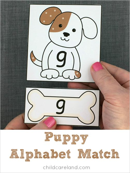 Puppy match for letter recognition and fine motor development.