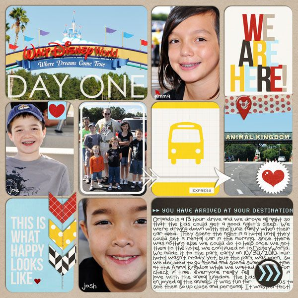 Disney WE ARE HERE - Welcome to Walt Disney World digital project life scrapbooking layout