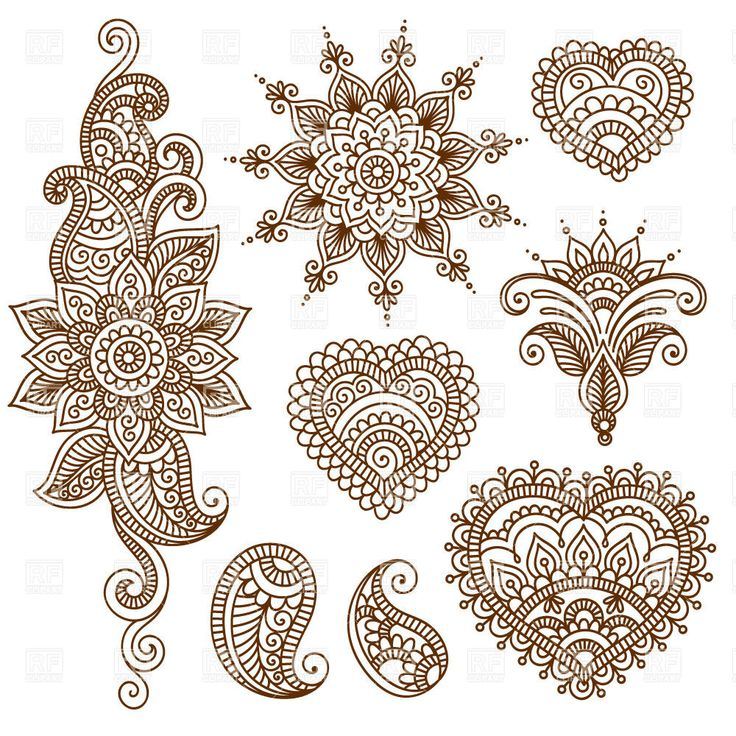 Henna Mehndi Vector Free Download : Indian ethnic tracery set of mendi style ornaments design elements download royalty